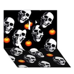 Skulls And Pumpkins Apple 3d Greeting Card (7x5)
