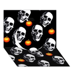 Skulls And Pumpkins Circle 3d Greeting Card (7x5)