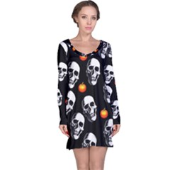 Skulls And Pumpkins Long Sleeve Nightdresses by MoreColorsinLife
