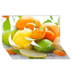 Citrus Fruits Twin Hearts 3d Greeting Card (8x4)