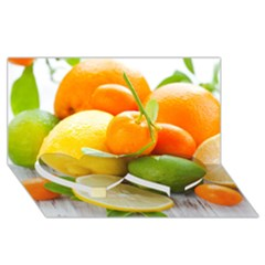 Citrus Fruits Twin Heart Bottom 3d Greeting Card (8x4)