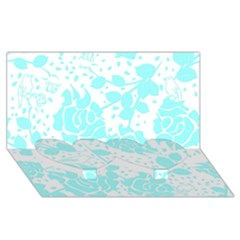 Floral Wallpaper Aqua Twin Heart Bottom 3d Greeting Card (8x4)  by ImpressiveMoments