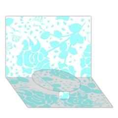 Floral Wallpaper Aqua Circle Bottom 3d Greeting Card (7x5)