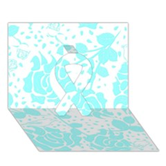 Floral Wallpaper Aqua Ribbon 3d Greeting Card (7x5)