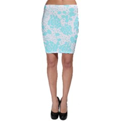 Floral Wallpaper Aqua Bodycon Skirts by ImpressiveMoments