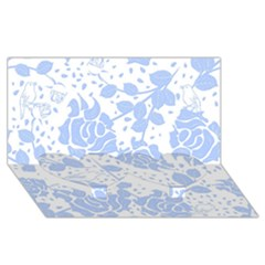 Floral Wallpaper Blue Twin Heart Bottom 3d Greeting Card (8x4)
