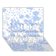 Floral Wallpaper Blue You Are Invited 3d Greeting Card (7x5)  by ImpressiveMoments