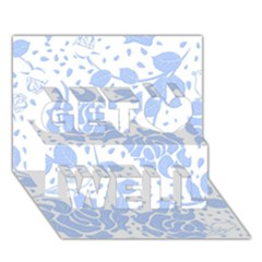 Floral Wallpaper Blue Get Well 3d Greeting Card (7x5)