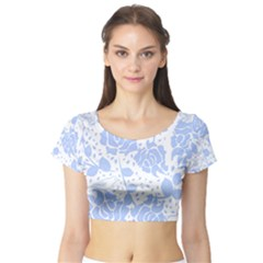 Floral Wallpaper Blue Short Sleeve Crop Top by ImpressiveMoments