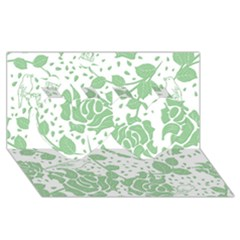 Floral Wallpaper Green Twin Hearts 3d Greeting Card (8x4)