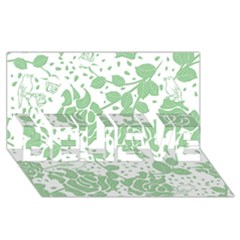 Floral Wallpaper Green Believe 3d Greeting Card (8x4)