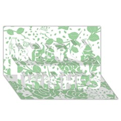 Floral Wallpaper Green Best Wish 3d Greeting Card (8x4)