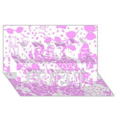 Floral Wallpaper Pink Best Friends 3d Greeting Card (8x4)