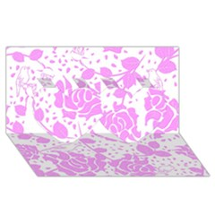 Floral Wallpaper Pink Twin Hearts 3d Greeting Card (8x4)
