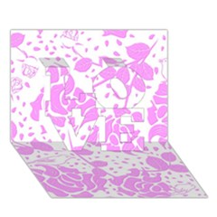 Floral Wallpaper Pink Love 3d Greeting Card (7x5)