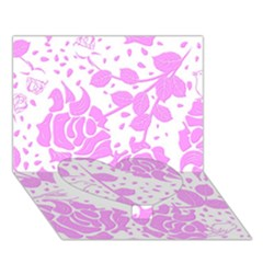 Floral Wallpaper Pink Heart Bottom 3d Greeting Card (7x5)