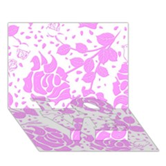 Floral Wallpaper Pink Love Bottom 3d Greeting Card (7x5)  by ImpressiveMoments