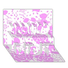 Floral Wallpaper Pink You Did It 3d Greeting Card (7x5)