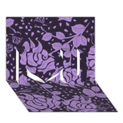 Floral Wallpaper Purple I Love You 3d Greeting Card (7x5)