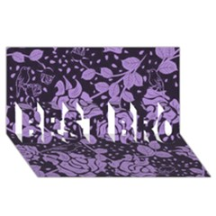 Floral Wallpaper Purple Best Bro 3d Greeting Card (8x4)  by ImpressiveMoments
