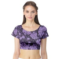 Floral Wallpaper Purple Short Sleeve Crop Top
