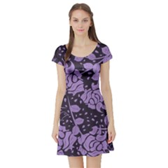 Floral Wallpaper Purple Short Sleeve Skater Dresses by ImpressiveMoments