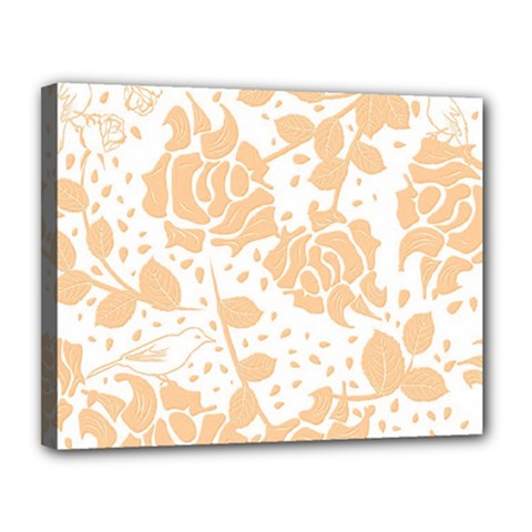 Floral Wallpaper Peach Canvas 14  X 11  by ImpressiveMoments