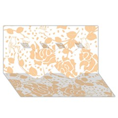 Floral Wallpaper Peach Twin Hearts 3d Greeting Card (8x4)