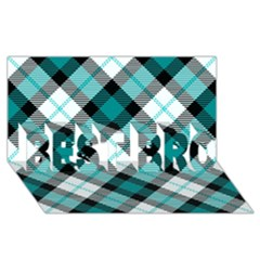 Smart Plaid Teal Best Bro 3d Greeting Card (8x4)  by ImpressiveMoments
