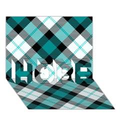 Smart Plaid Teal Hope 3d Greeting Card (7x5)