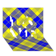 Smart Plaid Blue Yellow Love 3d Greeting Card (7x5)