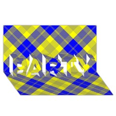 Smart Plaid Blue Yellow Party 3d Greeting Card (8x4)  by ImpressiveMoments