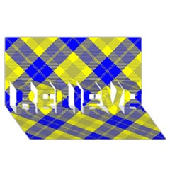 Smart Plaid Blue Yellow Believe 3d Greeting Card (8x4)