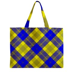 Smart Plaid Blue Yellow Tiny Tote Bags by ImpressiveMoments