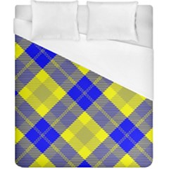 Smart Plaid Blue Yellow Duvet Cover Single Side (Double Size) by ImpressiveMoments