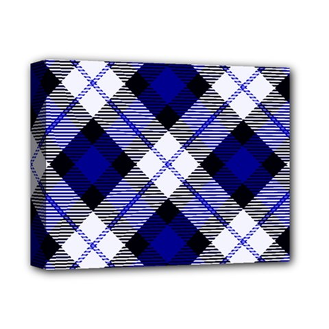 Smart Plaid Blue Deluxe Canvas 14  X 11  by ImpressiveMoments