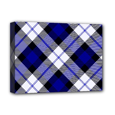 Smart Plaid Blue Deluxe Canvas 16  X 12   by ImpressiveMoments