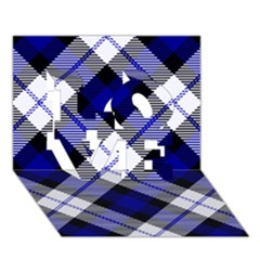 Smart Plaid Blue Love 3d Greeting Card (7x5)