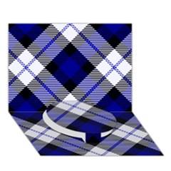 Smart Plaid Blue Circle Bottom 3d Greeting Card (7x5)