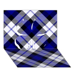 Smart Plaid Blue Clover 3d Greeting Card (7x5)