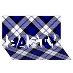 Smart Plaid Blue Party 3d Greeting Card (8x4)  by ImpressiveMoments