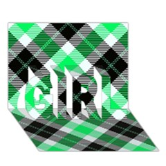 Smart Plaid Green Girl 3d Greeting Card (7x5)