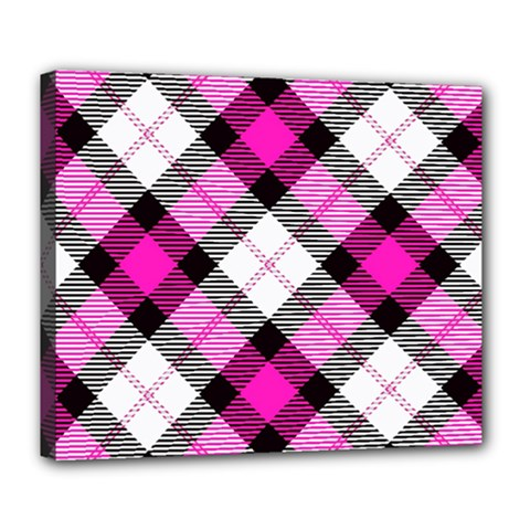Smart Plaid Hot Pink Deluxe Canvas 24  X 20   by ImpressiveMoments