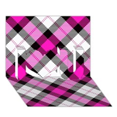 Smart Plaid Hot Pink I Love You 3d Greeting Card (7x5)  by ImpressiveMoments