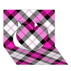 Smart Plaid Hot Pink Heart 3d Greeting Card (7x5)  by ImpressiveMoments