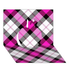 Smart Plaid Hot Pink Apple 3d Greeting Card (7x5)