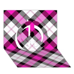 Smart Plaid Hot Pink Peace Sign 3d Greeting Card (7x5)