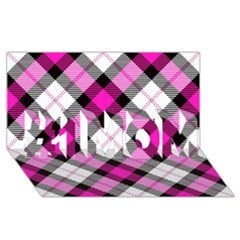 Smart Plaid Hot Pink #1 Mom 3d Greeting Cards (8x4)  by ImpressiveMoments
