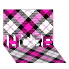 Smart Plaid Hot Pink Hope 3d Greeting Card (7x5)