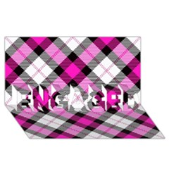 Smart Plaid Hot Pink Engaged 3d Greeting Card (8x4)